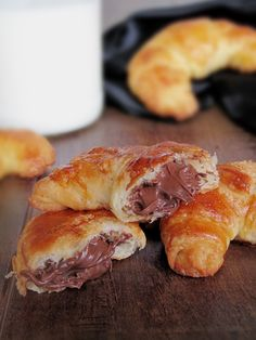 Homemade Croissants Filled with Nutella.