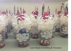 Classroom birthday cups for celebrating student birthdays. Student Birthdays, Student Gifts, Teacher Gifts, Gifts For Students, Student Birthday Gifts, Classroom Birthday Gifts, Student Treats, Teacher Hacks, School Treats