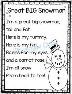 Great BIG Snowman | Winter poem for kids | printable | Poem of the Week | Poetry Notebook | songs for kids