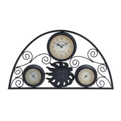 (Grey) 13-inch Clock Thermometer, Outdoor Décor