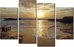 Framed Hugh 4 Panel Sunrise Sea Ocean Wave Sunset Beach Canvas Prints   eBay