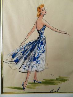 Elois Jenssen Original 1950's Lucille Ball Forever Darling Costume Sketch