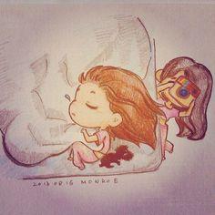Taeng Sleeping beauty photo by Tiffany, fanart by MONROE #Taeyeon #fanart #jetlag