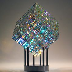 Sculpture triple cut cube x sitting on base Limited Collection Size: 50 pieces glass art Magik Chroma Cube Fused Glass Art, Dichroic Glass, Stained Glass Art, Glass Beads, Jack Storms Glass, Cristal Art, Glass Art Pictures, Glas Art, Glass Artwork
