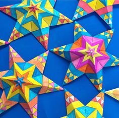 Printable craft decoration worksheets: Make and color in Mexican paper star ornaments for 5 de Mayo!
