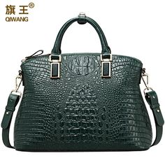 Enjoy exclusive for Qiwang Women Top-Handle Bags Genuine Leather Handbags Embossed Crocodile Full Grain Cowhide Evening Purse online - Showalloffer Purses And Handbags, Leather Handbags, Crocodile, Branded Bags, Large Bags, Cow Leather, Shoulder Handbags, Handle, Fashion Bags