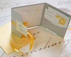 Simple Blossom Square Pocket Wedding by YourStyleInvitations