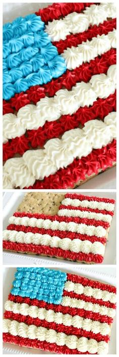 I am LOVING this awesome American Flag Cookie Cake and it's super easy to make! If you're got a of July party coming up and you're trying to figure out what to make then be sure to give this delicious cookie cake American Flag a try! 4th Of July Desserts, Fourth Of July Food, 4th Of July Party, Holiday Desserts, Holiday Treats, July 4th, Holiday Fun, Patriotic Desserts, Holiday Foods