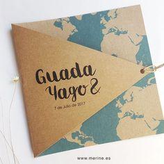 Invitaciones de boda originales. Modelo Mapa Mundo. Meriné ®