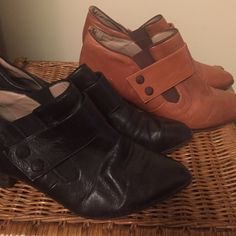 """Sz 8 Vintage leather booties. Black & brown. Vintage leather booties with leather bottoms. Minor flaws on toes that could be fixed with some polish and tlc.  Both Size 8. I would say they are fairly narrow and the smaller side of sz 8, so if you wear a 7.5, you may have a chance too!! Willing to sell separately, please make an offer or comment below. Black pair is a little more worn than the brown but both are in good, used condition. Insole says """"made in Italy"""". $20 each or $30 for both…"""