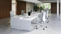 White Desk Office, Modern Office Desk, Contemporary Office, Office Desks, System Furniture, Large Furniture, Office Furniture, Office Interior Design, Office Interiors