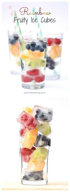 Rainbow fruit ice cubes - a fun way to get kids drinking water this summer - fab for parties and BBQs too - Eats Amazing UK (infused water recipes) Infused Water Recipes, Fruit Infused Water, Fruit Recipes, Summer Recipes, Drink Recipes, Smoothie Recipes, Fruit Ice Cubes, Smoothie Fruit, Fruit Salad