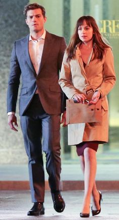 '50 Shades of Grey' Movie Set Photos: Jamie Dornan, Dakota Johnson as Christian Grey and Anastasia Steele... see the paperwork in hand?