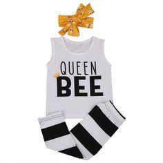 3-Piece Queen Bee Top + Striped Legging + Headband