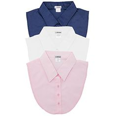 3-Pack Navy, White, Pink Women's Dickey Collars by USA-Ba...
