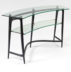 Max Ingrand; Lacquered Wood, Glass and Brass Console, c1955.