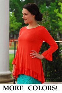 Ruffle Hem Tunic - $25 at dcmapparel.com - Modest neck and sleeves!