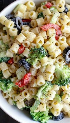 Creamy Summer Pasta Salad This would be an awesome healthy gluten free dish by using gluten free past and fat free or reduced fat mayo. Something I am going to try!