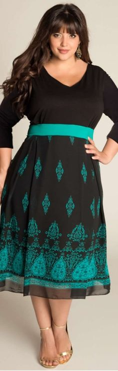CUTE!! Heera Plus Size Dress, really like this one: empire waist flatters everyone, v neck frames face and chest, pretty pattern on the skirt with sheer overlay balances.