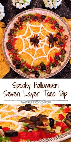 Halloween Recipes Traditional Seven Layer Dip with its bean dip, guacamole, sour cream, cheese, to… Halloween Dip, Halloween Appetizers, Halloween Food For Party, Halloween Foods, Happy Halloween, Halloween Dishes, Halloween Recipe, Halloween Cupcakes, Halloween Treats