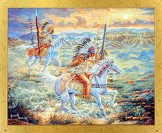 Experience the thrill and timeless majesty of Native American Worriers with this amazing Native American Worriers riding their horses and a beautiful sunset view which is sure to make this framed art poster a centre of attraction. It would surely enhance the visual appeal of your place. Its wooden golden frame accentuates the poster mild tone. The frame is made from solid wood measuring 18x22 inches with a smooth gesso finish.