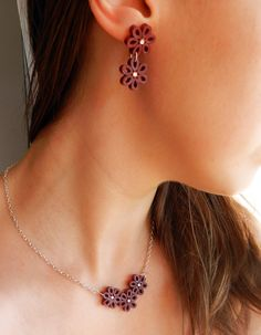 Necklace and earrings set, burgundy red, handmade quilled paper flowers with…