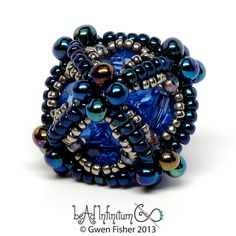Ionic Octahedron Beaded Bead in Blue and Silver