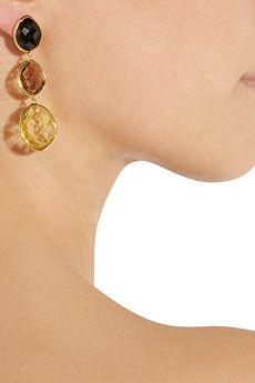 Nugget 18-karat gold-plated multi-stone earrings