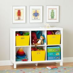 Cubic Bookcase (White, 6-Cube)  | The Land of Nod.   @katienadig What about a white bookcase (or grey) bookcase with yellow bins?