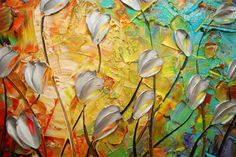 floral abstract landscape by Susanna Shap (palette knife acrylic painting)