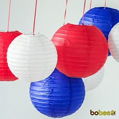 Bobee Red White and Blue Paper Lanterns Party Decorations 7 pack -- Read more reviews of the product by visiting the link on the image. (This is an affiliate link) #HomeDecor
