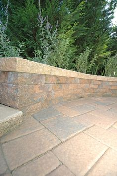 Paving stone patio and wall