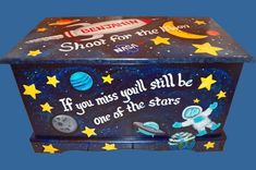 space ship toy box custom designed with moon stars planets wooden chest handmade and painted chest kids furniture personalized name Painted Wooden Boxes, Wooden Chest, Wooden Toy Boxes, Diy Kids Furniture, Hand Painted Furniture, Big Toy Box, Outer Space Theme, Painted Chest, Personalised Box