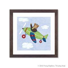 Airplane Nursery Art Teddy Bear Aviator 12 x 12 by krankykrab