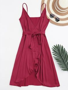 Spaghetti Straps Satin Belted Wrap Dress - Red S
