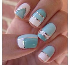 Cute 2 shades of light blue & a white nail polish with silver lines