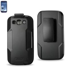 Reiko Silicone Case+Protectorcover Samsung Galaxy S 3- I9300-R530X Black Holster With Clip