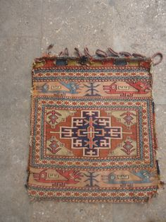 """Shahsavan Soumac Bagface with animals ,early age and great natural colors,fine weave original Kilim backing,very nice design.Size 1'10""""*1'7"""".E.mail for more info and pics."""