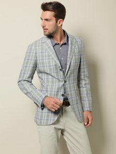 Luciano Barbera Linen & Wool Plaid Blazer