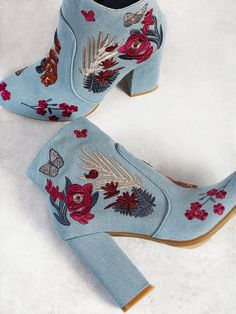 Shop Floral Embroidered Zip Up Heel Booties DENIM online. SheIn offers Floral Em… Shop Floral Embroidered Zip Up Heel Booties DENIM online. SheIn offers Floral Embroidered Zip Up Heel Booties DENIM & more to fit your fashionable needs. Thigh High Boots Heels, Heeled Boots, Shoe Boots, High Heels, Shoes Heels, Strappy Shoes, Women's Flats, Flat Shoes, Women's Sandals