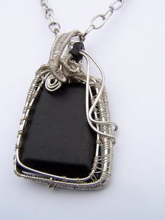 wire wrapped pendant with agate natural by SHINEmagicJewellery