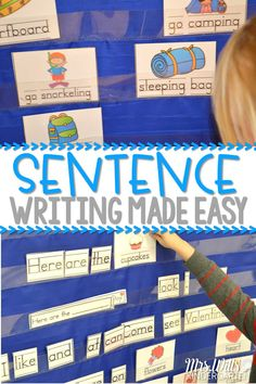 Sentence Writing in Kindergarten! Sentence Writing in Kindergarten can be made easy! Check out how I introduce sentence writing as a literacy center. Then we build on it to make this a year-long literacy activity. Writing Center Kindergarten, Kindergarten Reading, Kindergarten Teachers, Teaching Writing, Kindergarten Classroom Management, Reading Centers, Literacy Centers, Writing Centers, School