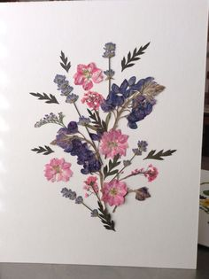 TAKEN - Pressed flower art for Ross, with fern tips, lavender, Texas bluebonnets, larkspur, and alyssum.