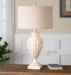 Tavernola Crackled Ivory Table Lamp