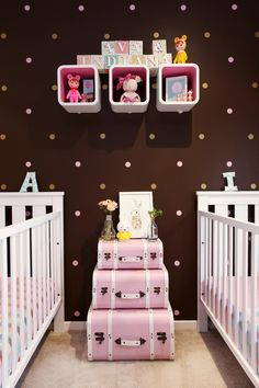 Love the back wall of this twin nursery.