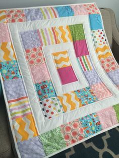 baby girl quilt READY TO SHIP Modern baby quilt mat for