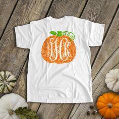 Fall pumpkin vine monogram sparkly glitter t-shirt Fall pumpkin monogram sparkly glitter t-shi Vine Monogram, Monogram Shirts, Vinyl Shirts, Personalized Shirts, Monogram Pumpkin, Monogram Design, Tee Shirts, Glitter Pumpkins, Fall Pumpkins
