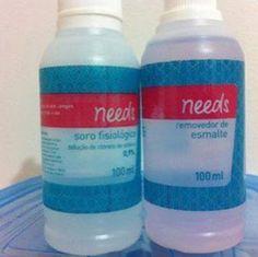 Atenção com as embalagens: Soro fisiológico e Acetona Needs