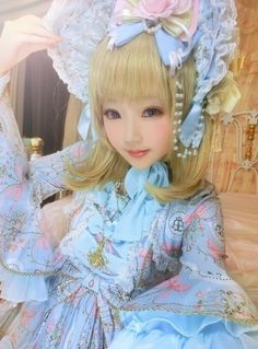 •○~ Sweet lolita, 甘いロリータ♥  pastel - Angelic Pretty - bonnet - bows - lace - makeup - cute - kawaii✮ ~•○