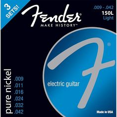 Fender 150L Nickel Ball End Guitar Strings 3-Pack Light Gauge 9-42